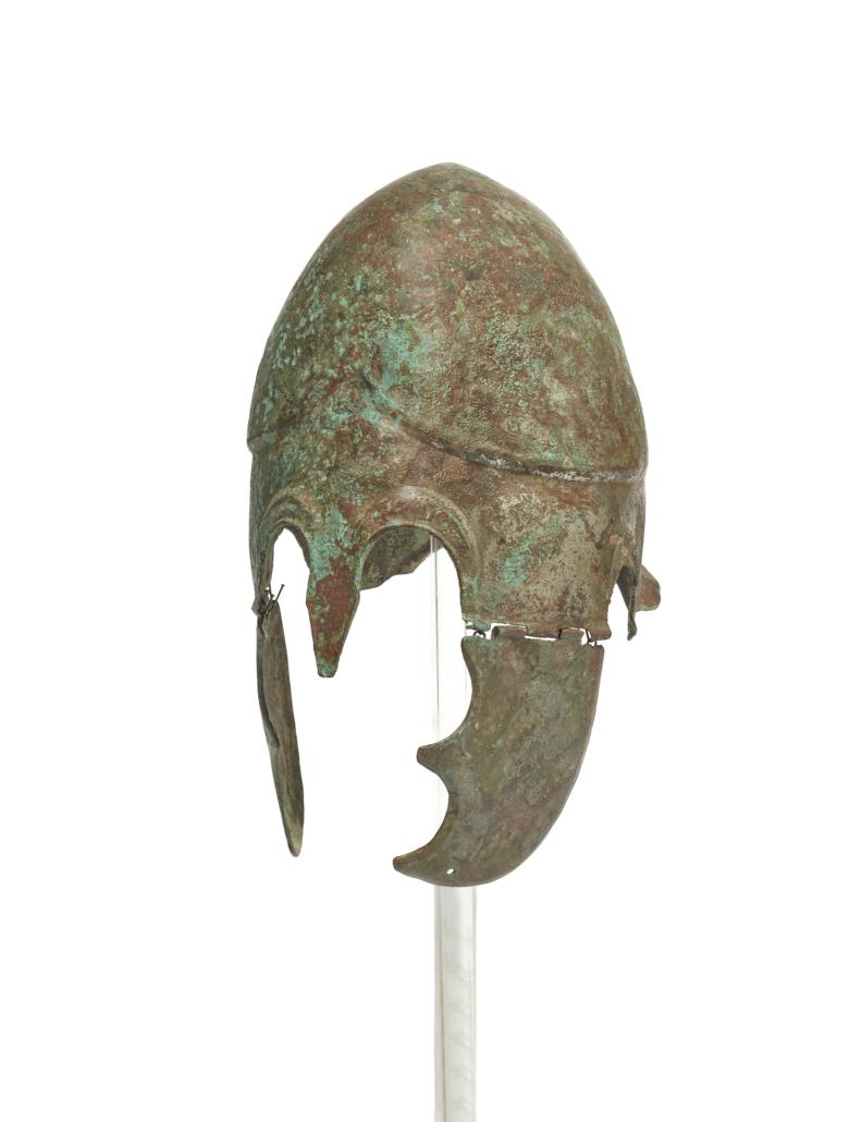 Chalcidian tinned bronze helmet, est. €15,000-€20,000. Image courtesy of Bonhams