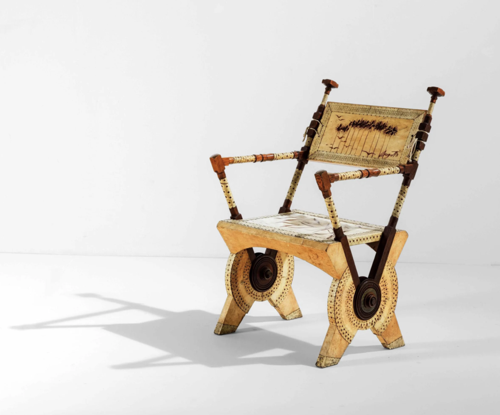 This Carlo Bugatti chair achieved €16,000 ($18,837) plus the buyer's premium in October 2020 at Cambi Casa D'Aste. Image courtesy of Cambi Casa D'Aste and LiveAuctioneers.