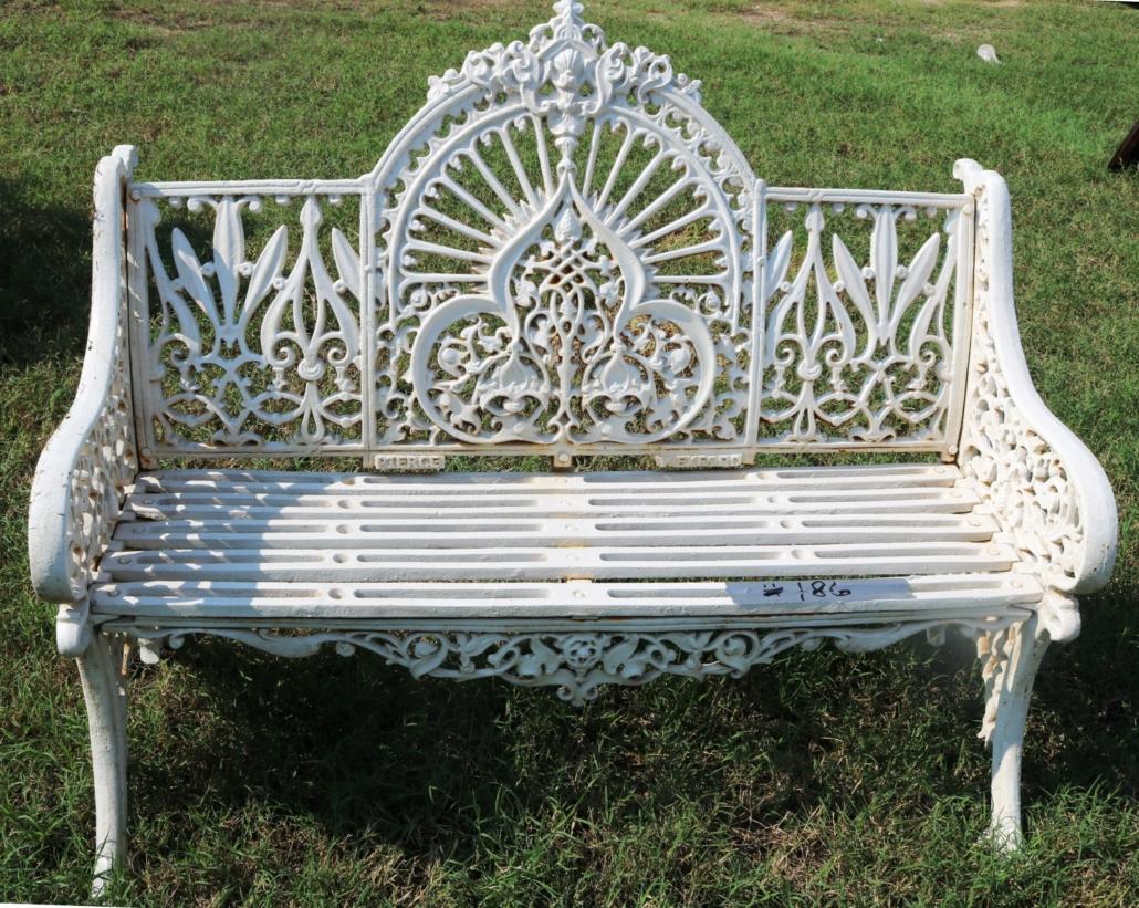 Cast iron white garden bench, est. $1,000-$2,000