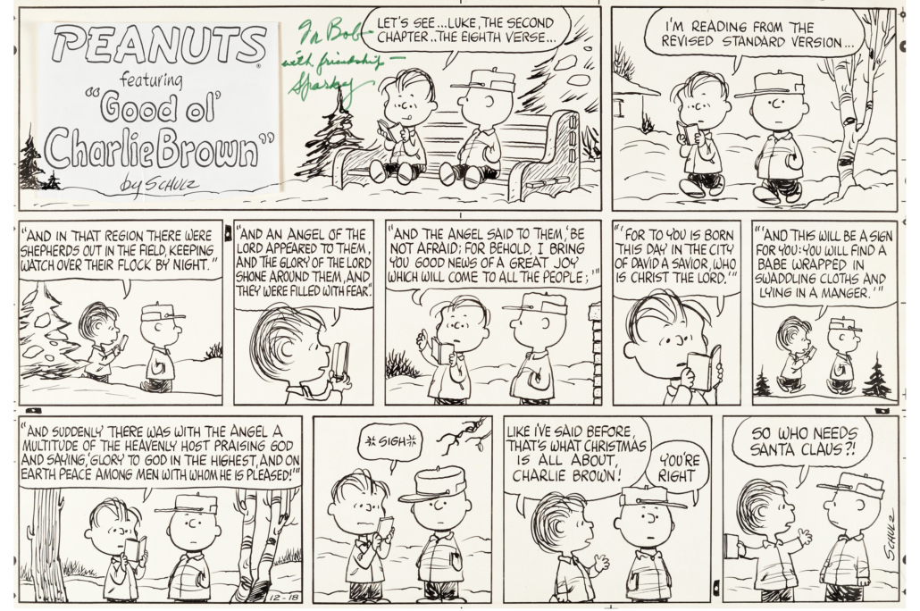 A December 1966 Sunday 'Peanuts' strip in which Linus repeats the message at the core of 'A Charlie Brown Christmas' sold for $360,000 and a new world auction record for original 'Peanuts' art.
