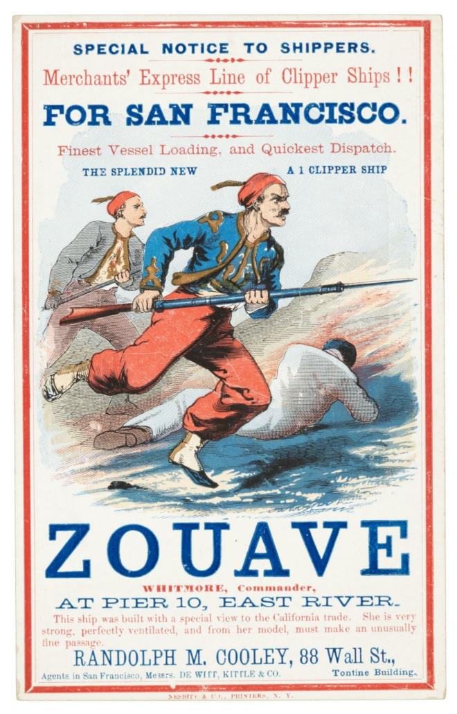 Circa-1860 Zouave clipper ship card, est. $1,500-$2,500