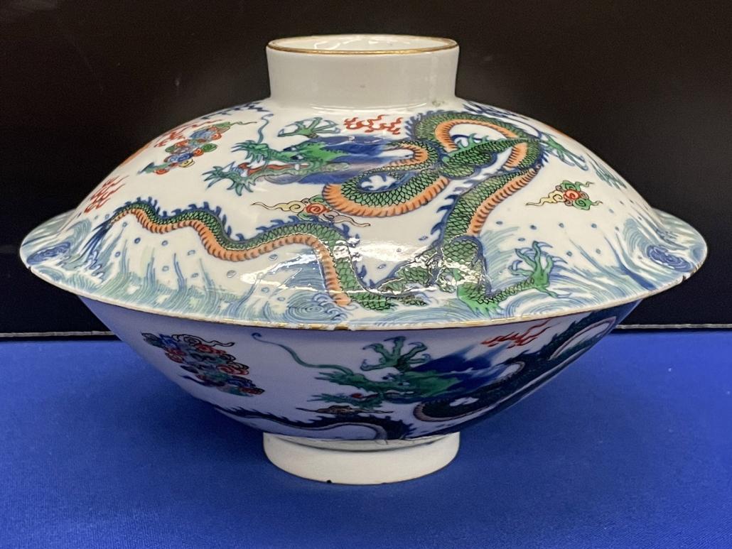 Chinese porcelain dragon bowl with Yongzheng mark, $200,000