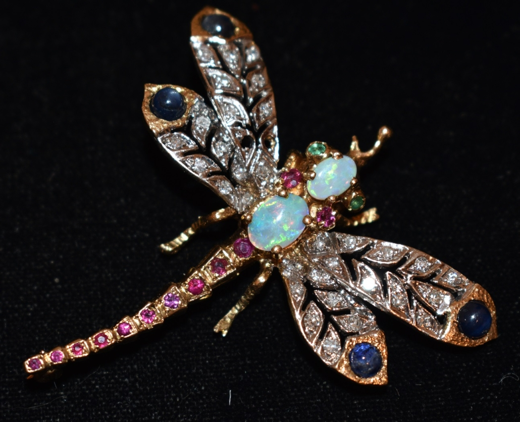 Art Deco 14Kyellow and white gold dragonfly brooch with diamonds, star sapphires, rubies, emeralds and opals, est. $100-$1,000