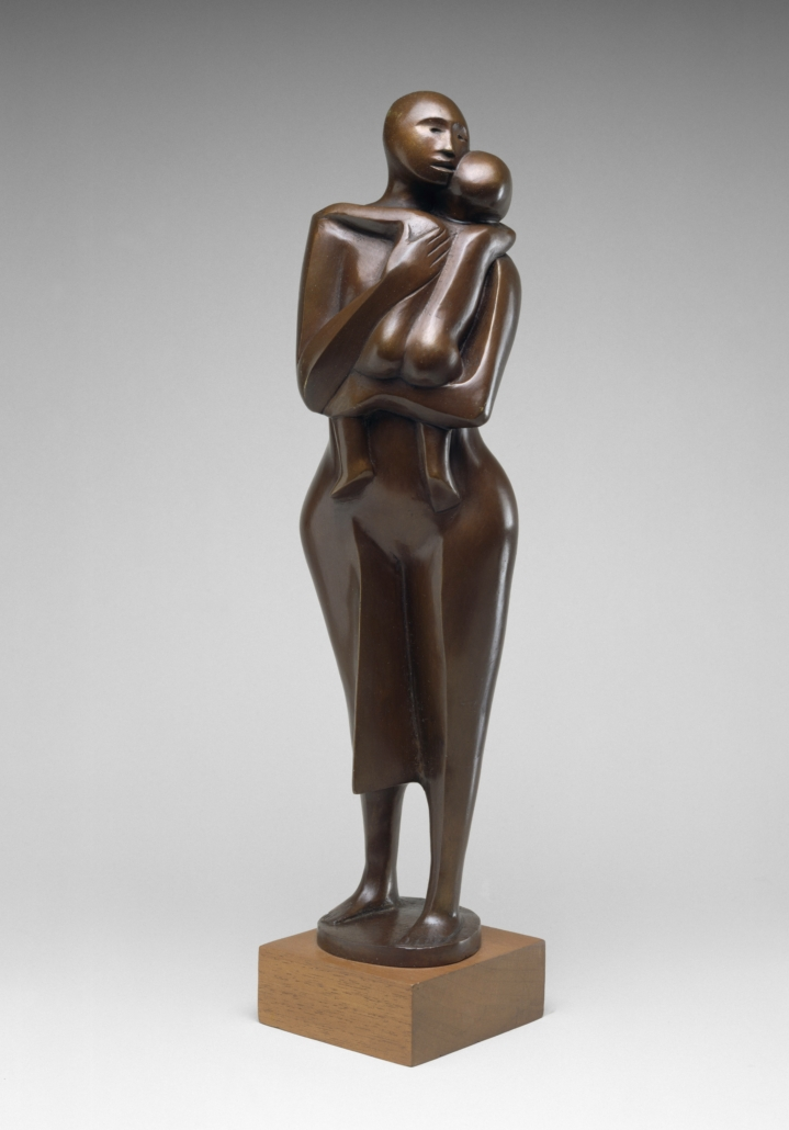 Elizabeth Catlett, 'Standing Mother and Child,' 1978, bronze with copper alloy on wood base, the Museum of Fine Arts, Houston, Museum purchase funded by the African American Art Advisory Association. © 2021 Catlett Mora Family Trust / Licensed by VAGA at Artists Rights Society (ARS), New York