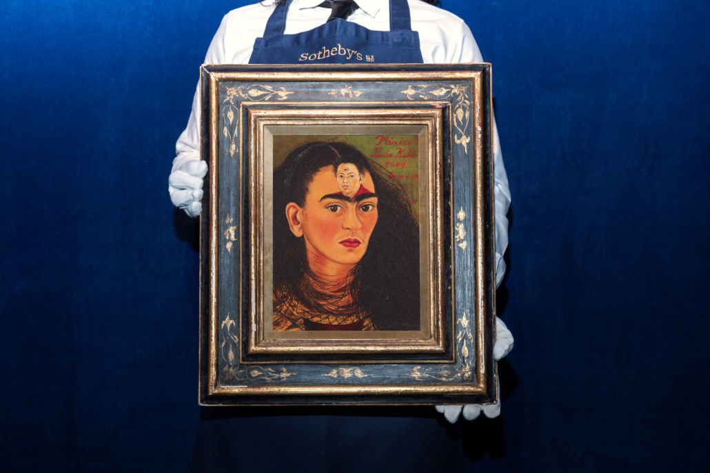Frida Kahlo's 'Diego y yo (Diego and I)' will likely set auction records when it is auctioned in November. Image courtesy of Sotheby's