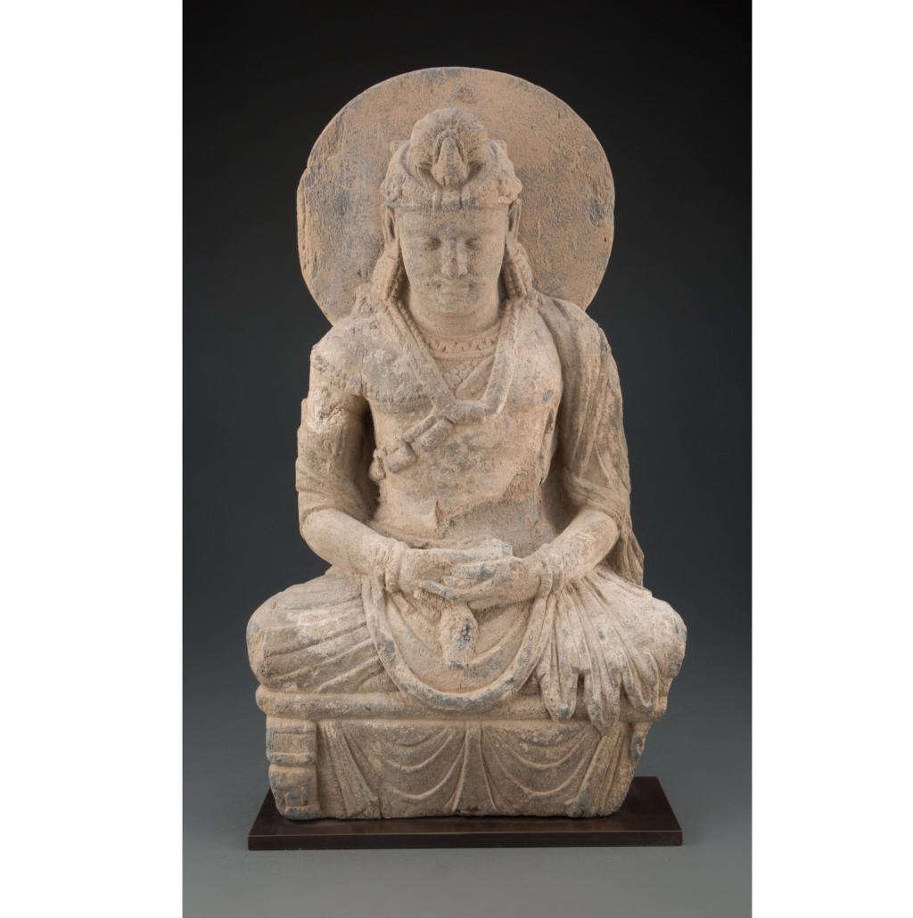 Gandharan gray schist figure of Buddha Shakyamuni, est. $20,000-$25,000