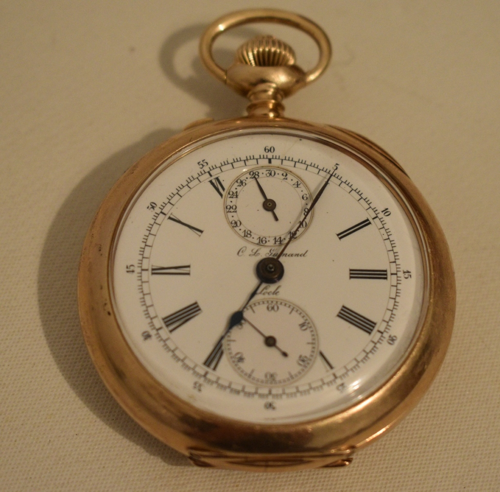 C. L. Guinand 14K yellow gold chronograph triple dial pocket watch, est. $100-$1,000