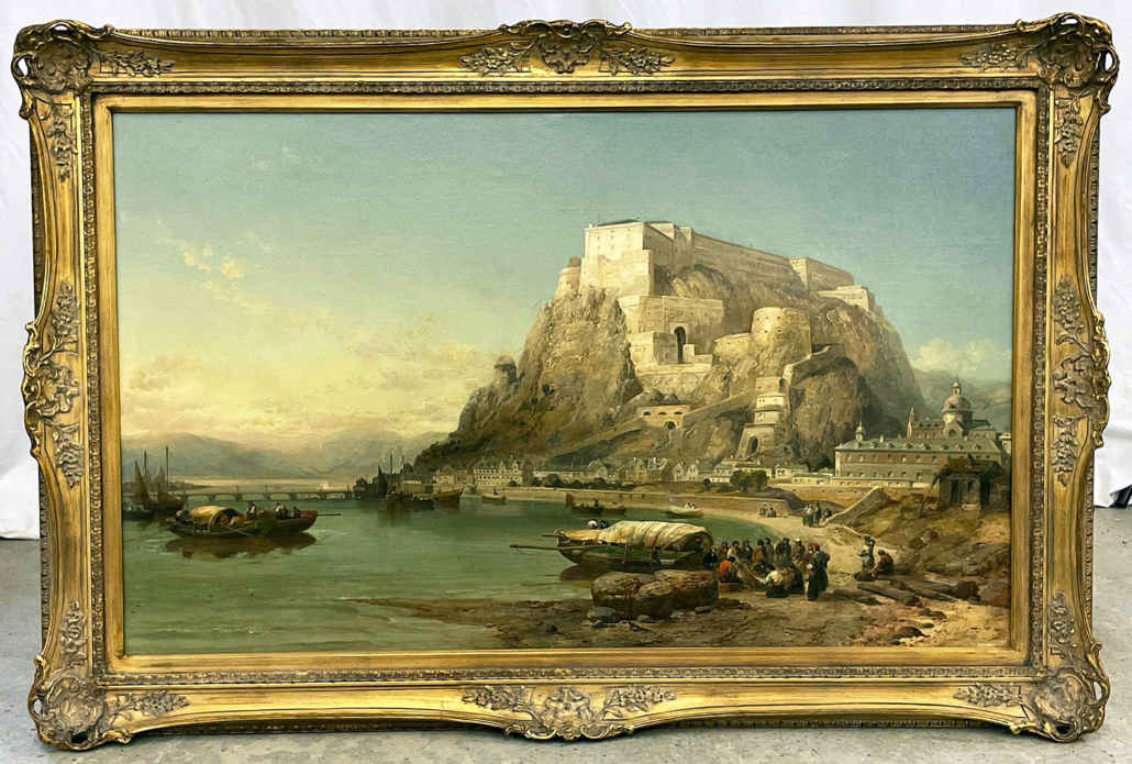 James Webb harbor scene with castle, $8,750