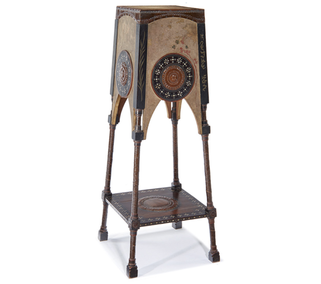 A Carlo Bugatti pedestal realized $12,500 at Los Angeles Modern Auctions (LAMA) in October 2016. Image courtesy of LAMA