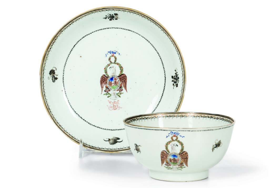 Cup and saucer from Samuel Shaw's Society of the Cincinnati Chinese Export porcelain service, $75,000