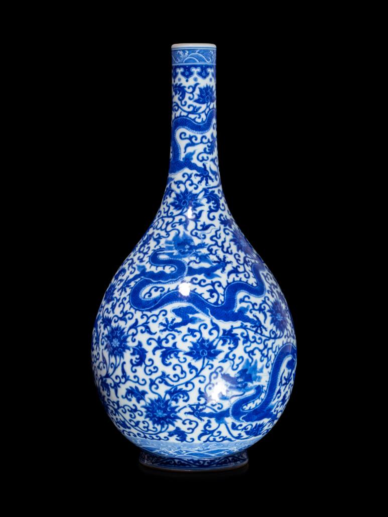 Large Chinese blue and white porcelain Dragon bottle vase, est. $6,000-$8,000