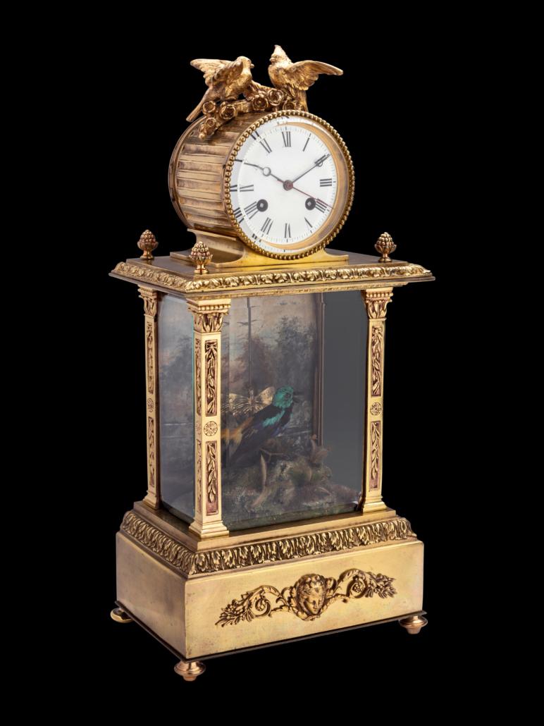 French singing bird automaton mantel clock, attributed to Bontems, est. $20,000-$30,000