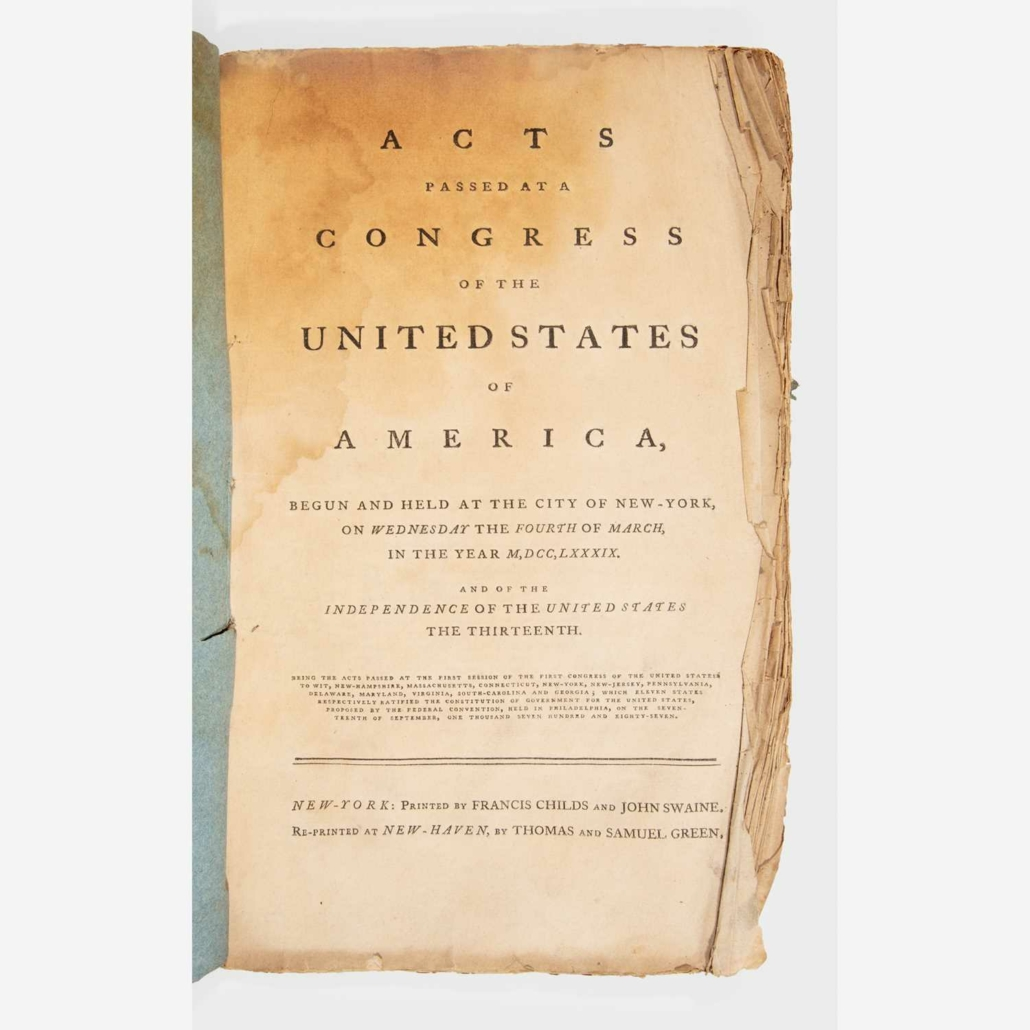 Circa-1789 printing of the first acts of the first U.S. Congress, $22,680