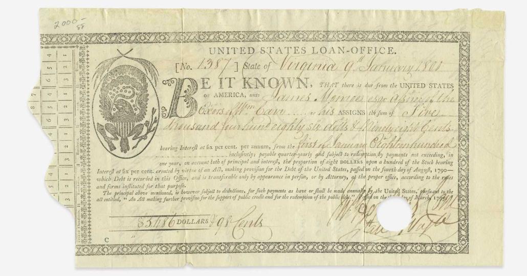 Signed U.S. loan-office certificate from 1800, $32,760
