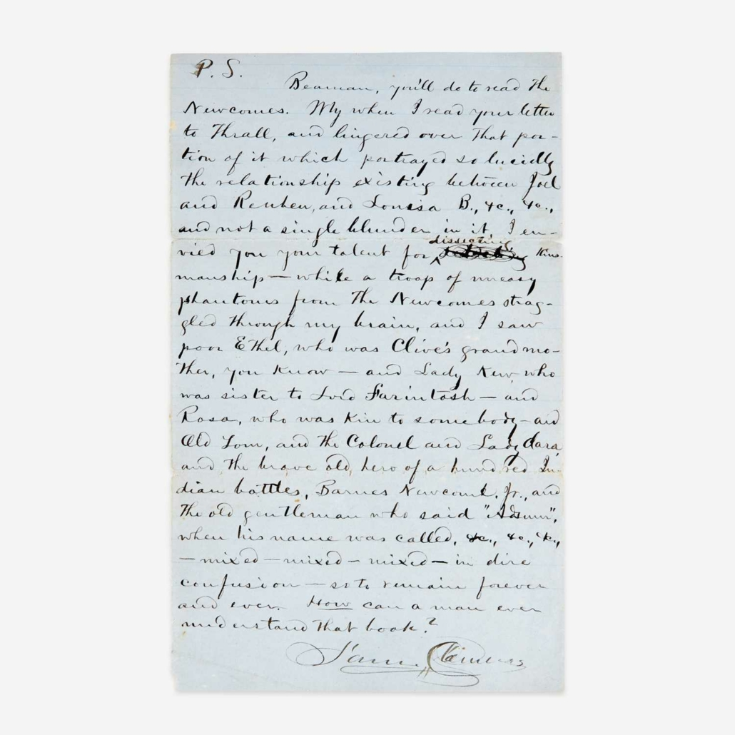 Signed autograph letter by Mark Twain, aka Samuel Clemens, $21,420