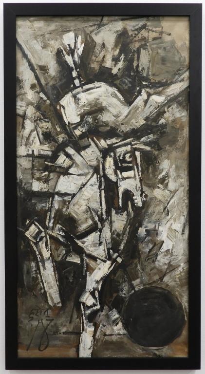 Cubist painting by Maqbool Fida Husain, est. $40,000-$60,000