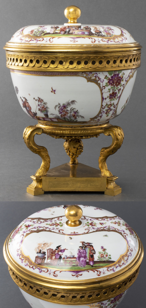 Meissen bronze mounted covered bowl, est. $10,000-$20,000