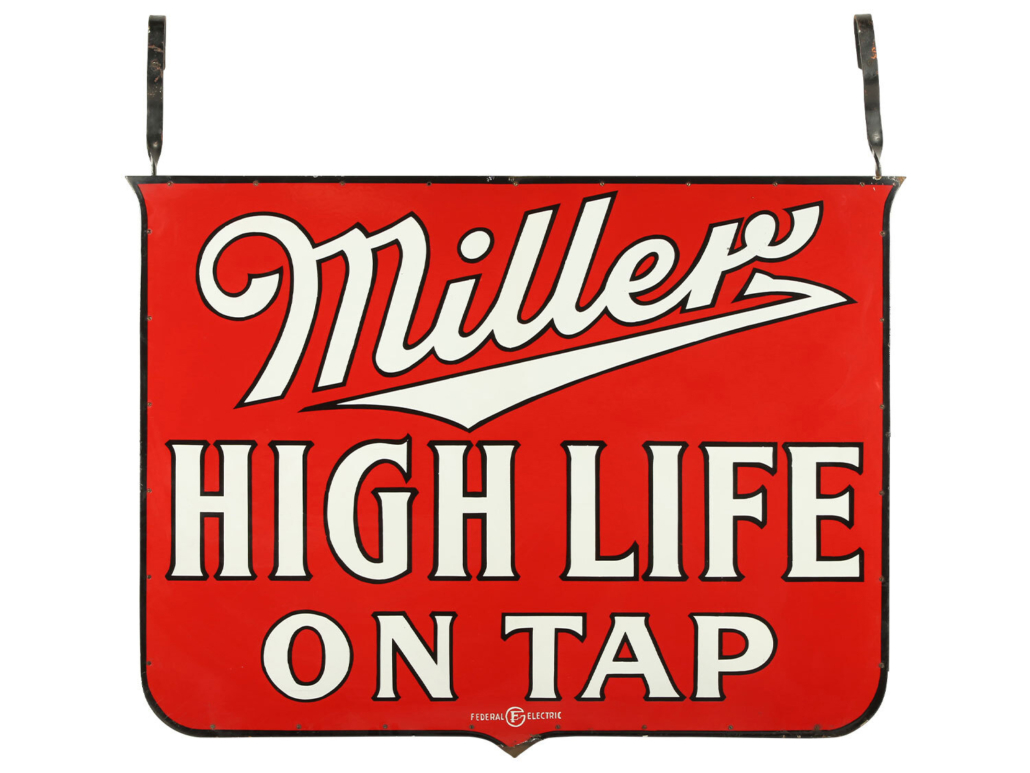 Circa-1930s Miller High Life Beer two-sided porcelain hanging sign, CA$7,670