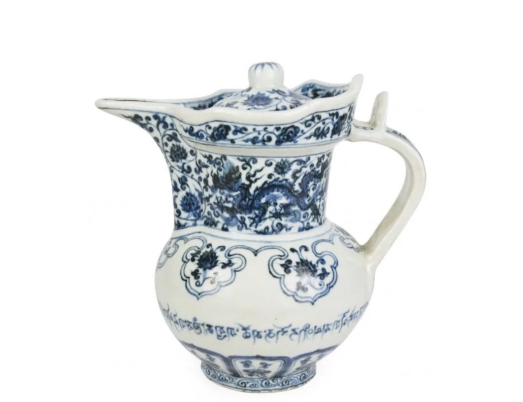 Ming dynasty blue and white Monks' Cap ewer, est. $40,000-$60,000