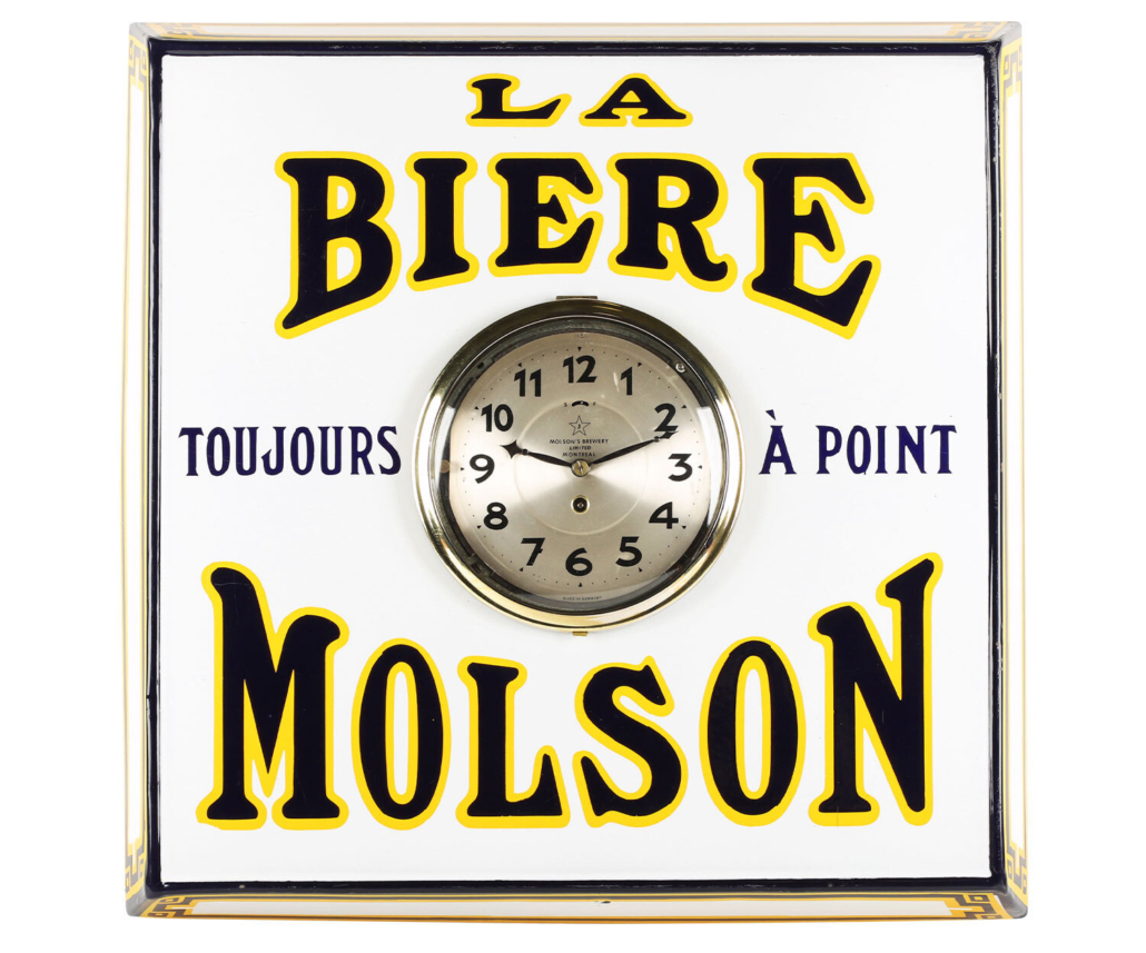 Molson's Beer clock, made for the French-Canadian market in the 1930s, CA$5,605