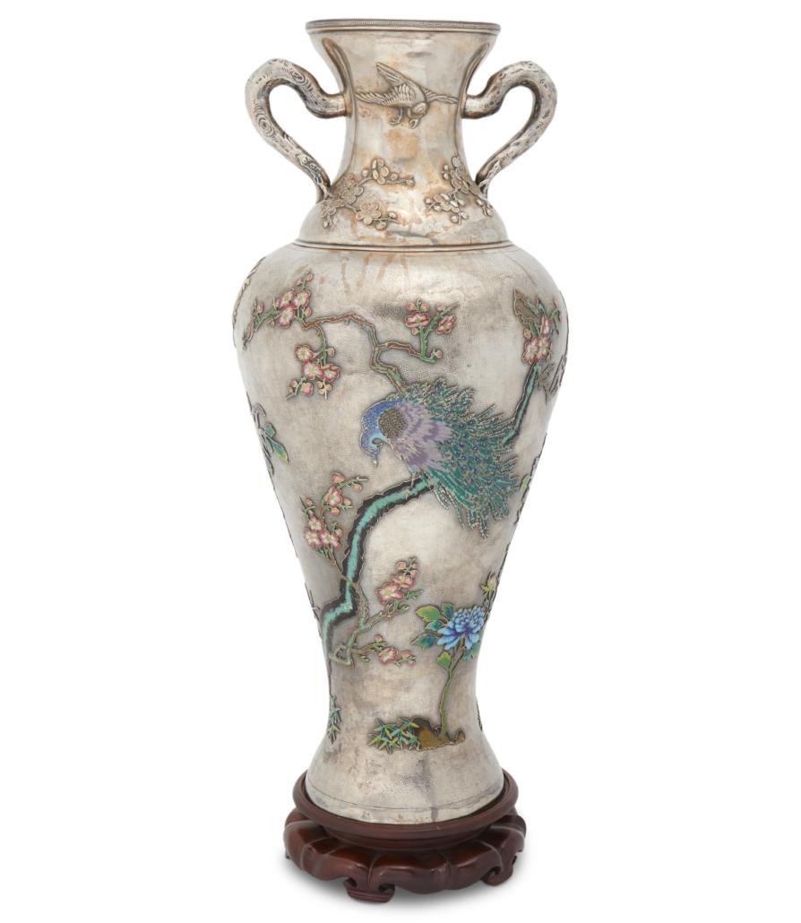 Chinese silver and cloisonne enamel vase, est. $10,000-$15,000