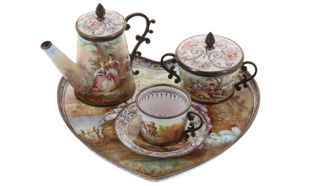 Ludwig Politzer enamel and silver miniature tea set, est. $800-$1,200