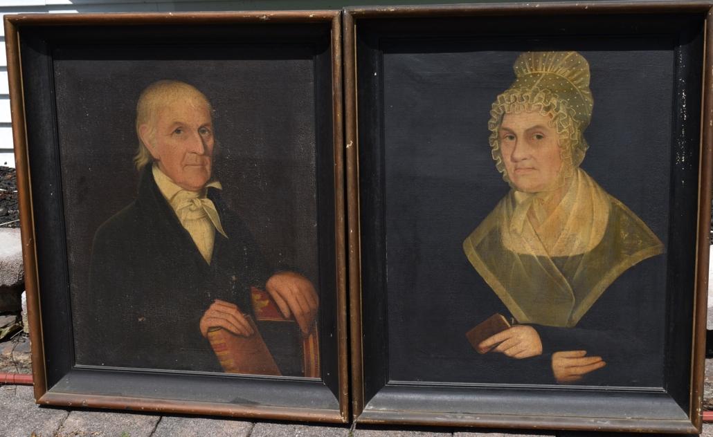 Circa-1830 portraits attributed to Ammi Phillips, est. $100-$1,000