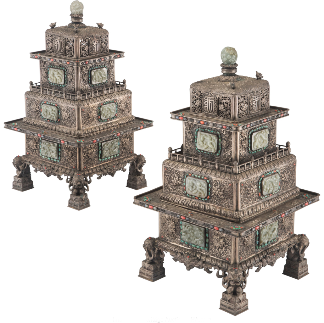 Mongolian jade and hardstone mounted censers, est. $15,000-$20,000