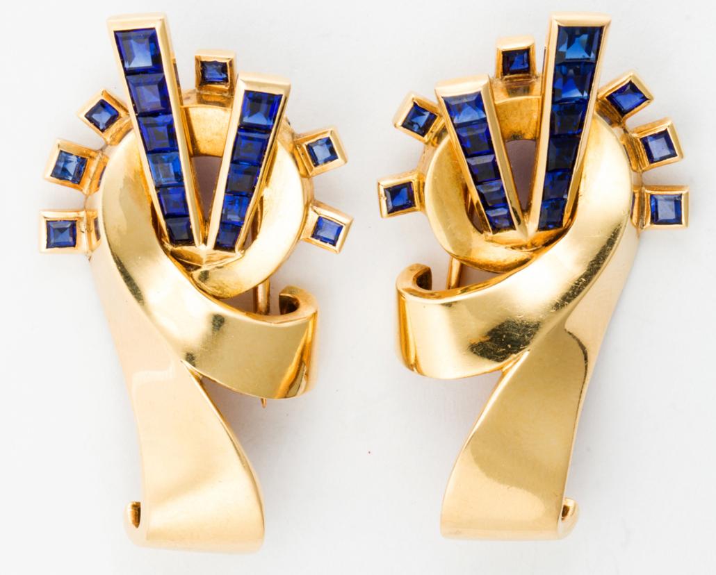 Van Cleef & Arpels sapphire and 18K gold fur clips, est. $8,500-$10,500