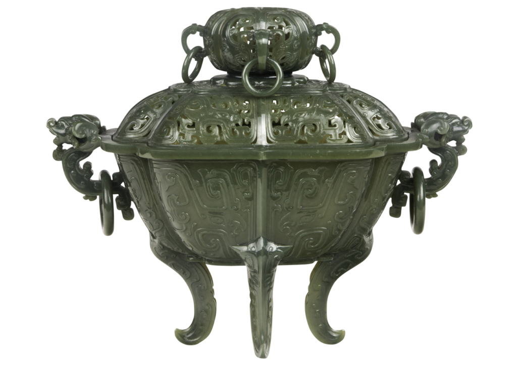 Chinese spinach jade censer by Xia Changxin, est. $3,000-$5,000