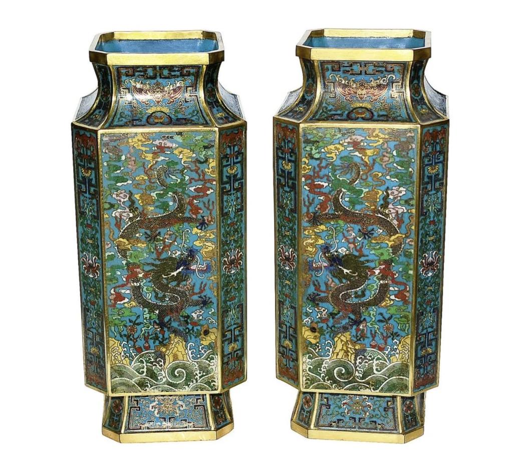 Pair of cloisonne octagonal dragon vases, est. $30,000-$50,000