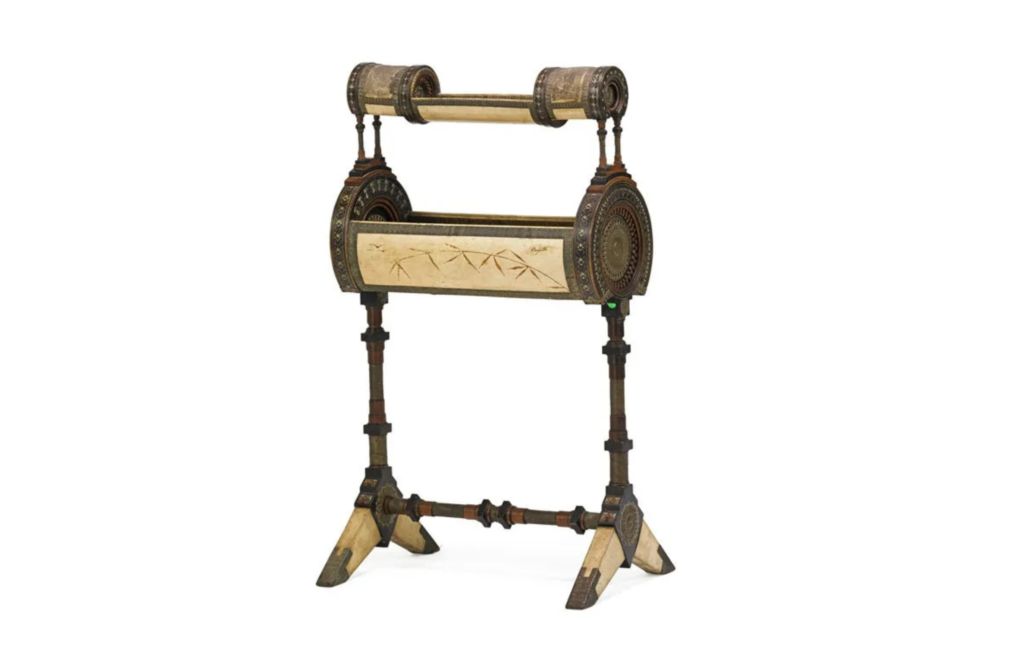 Described as a work table, this unusual Carlo Bugatti furniture form sold for $9,500 plus the buyer's premium in June 2016 at Rago Arts and Auction Center. Image courtesy of Rago Arts and Auction Center and LiveAuctioneers.