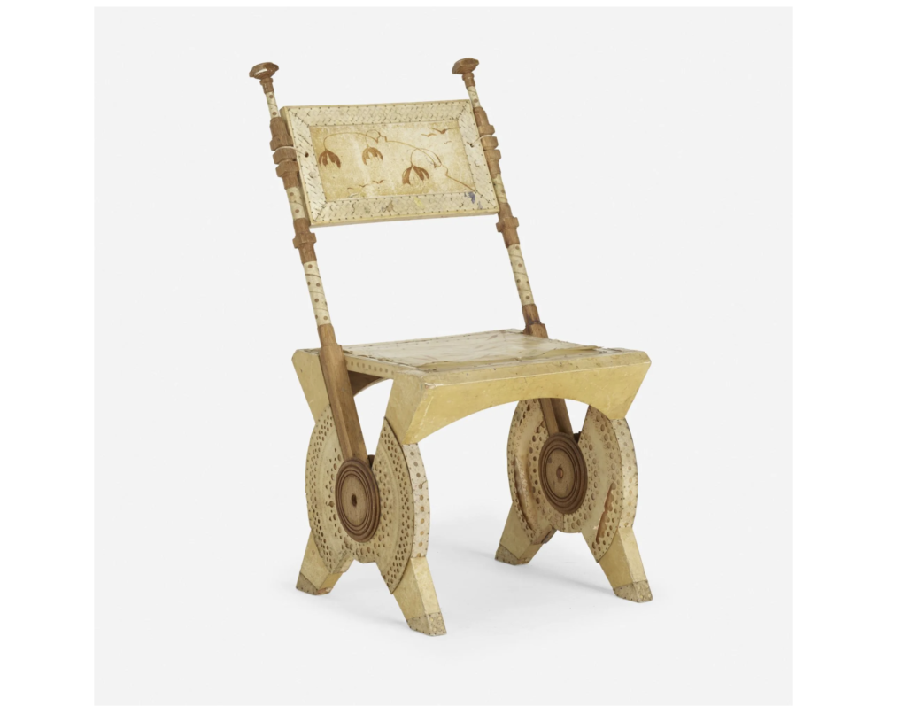 A Carlo Bugatti side chair featuring stenciled parchment achieved $8,000 plus the buyer's premium in May 2020 at Rago Arts and Auction Center. Image courtesy of Rago Arts and Auction Center and LiveAuctioneers.