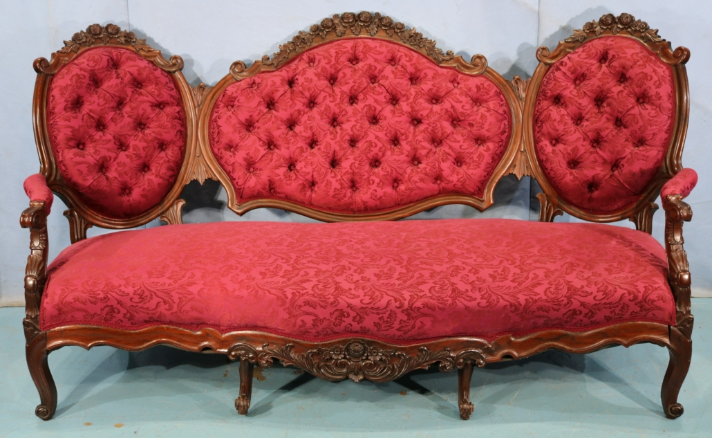 Rosewood triple-back sofa attributed to Alexander Roux, est. $1,000-$2,000