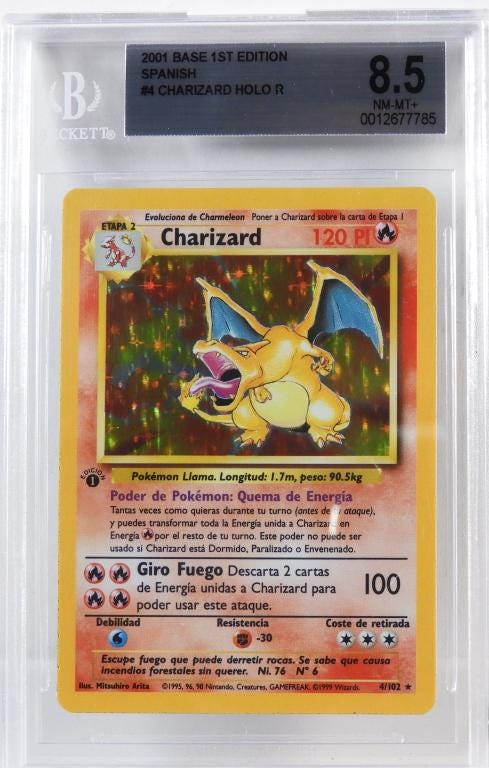 2001 Spanish Pokemon Base first edition Charizard holographic trading card, est. $800-$1,200