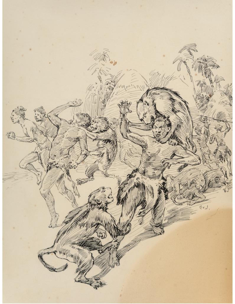 James Allen St. John illustration, The Baboons, for the book The Son of Tarzan, est. $6,000-$8,000