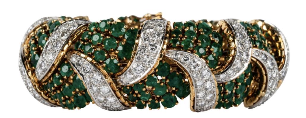 Tiffany & Co. 18K yellow gold, diamond and emerald bracelet, $15,000-$20,000