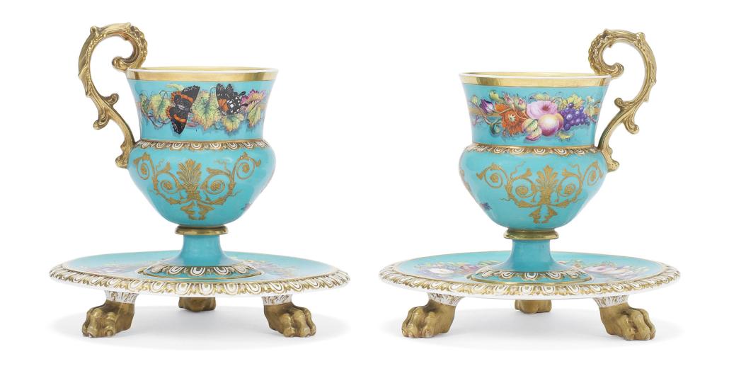 Copeland and Garrett presentation cabinet cups and stands, est. £8,000-£12,000. Image courtesy of Bonhams