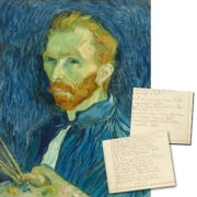 Paper fragment inscribed on both sides by Dutch artist Vincent Van Gogh in English and in Dutch, est. $40,000-$50,000