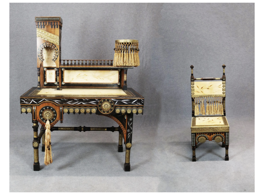 This circa-1900 Carlo Bugatti desk and chair set realized €28,000 ($32,964) plus the buyer's premium in October 2019 at Viscontea Casa d'Aste srl. Image courtesy of Viscontea Casa d'Aste srl and LiveAuctioneers.