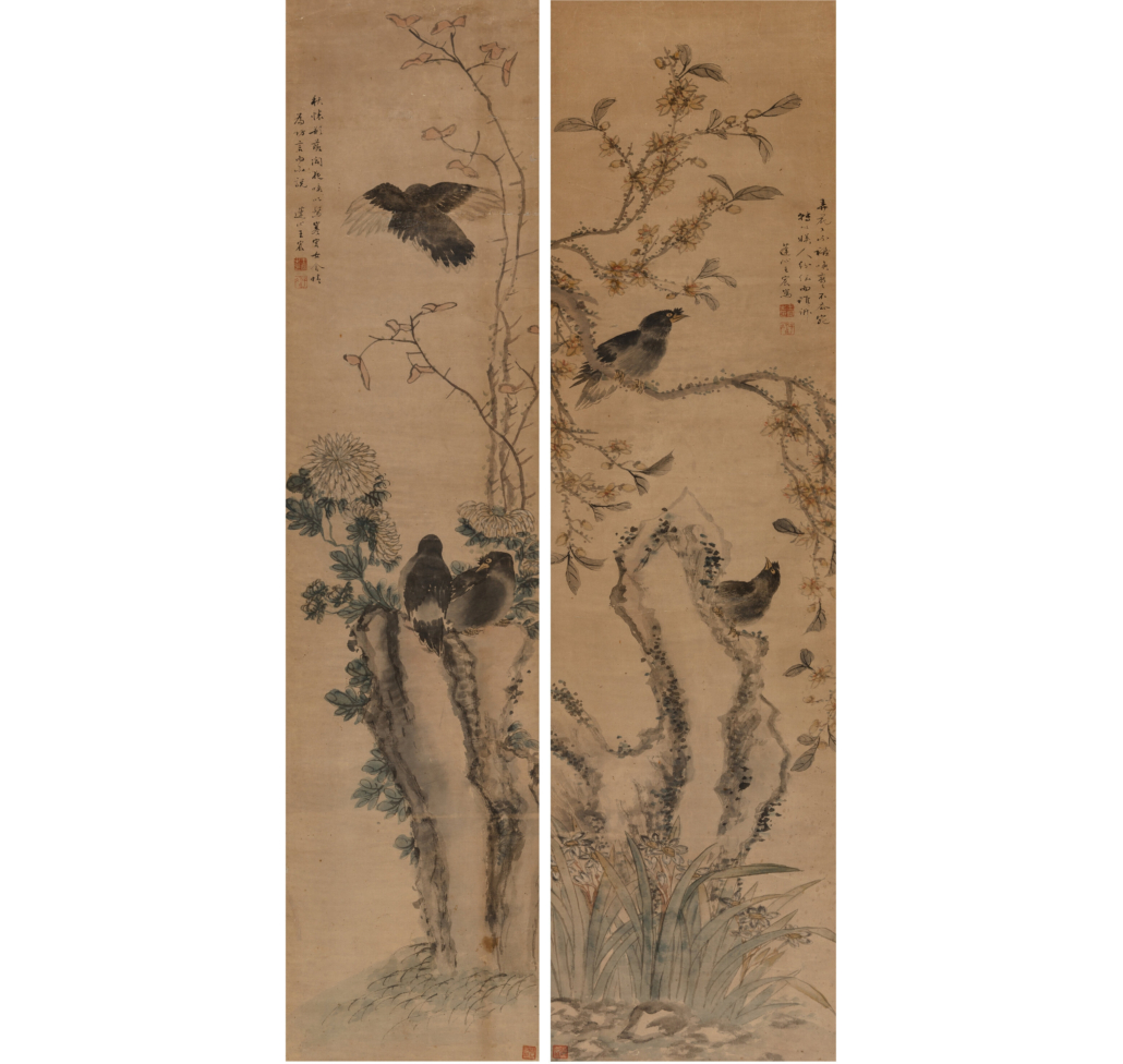 Wang Chen, 'Two works on Birds and Flowers,' est. $6,000-$8,000