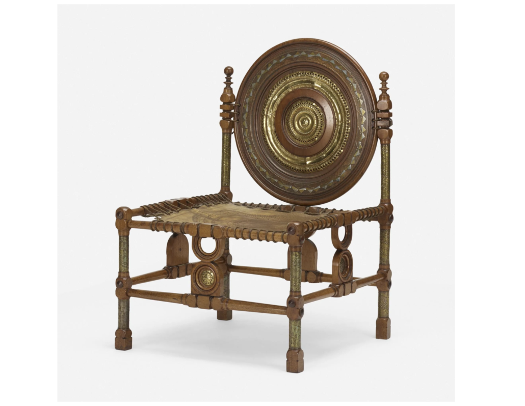"""A circa-1902 Carlo Bugatti piece described as a """"rare chair"""" sold for $16,000 plus the buyer's premium in June 2020 at Wright. Image courtesy of Wright and LiveAuctioneers."""