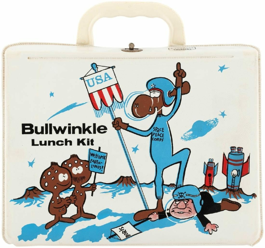 A rare white 'Bullwinkle Lunch Kit' vinyl lunchbox with Thermos made $1,300 plus the buyer's premium in November 2017 at Hake's Auctions. Image courtesy of Hake's Auctions and LiveAuctioneers.