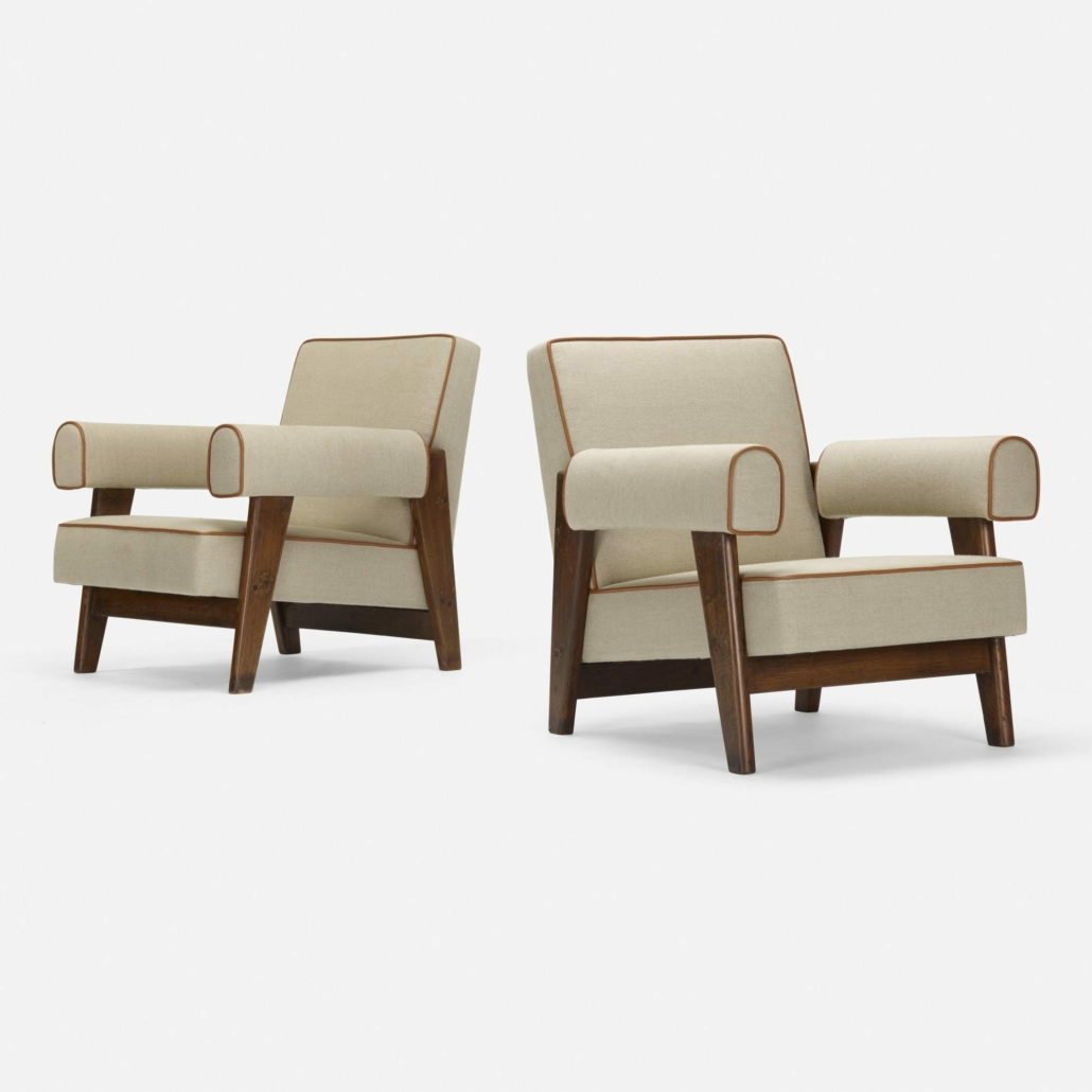 A pair of Le Corbusier and Pierre Jeanneret lounge chairs from circa 1955-56 realized $60,000 plus the buyer's premium in June 2020 at Wright. Image courtesy of Wright and LiveAuctioneers.