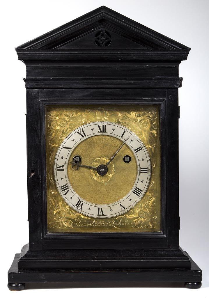 A Samuel Betts ebonized bracket clock made $95,000 plus the buyer's premium in June 2014 at Jeffrey S. Evans & Associates. Image courtesy of Jeffrey S. Evans & Associates and LiveAuctioneers.