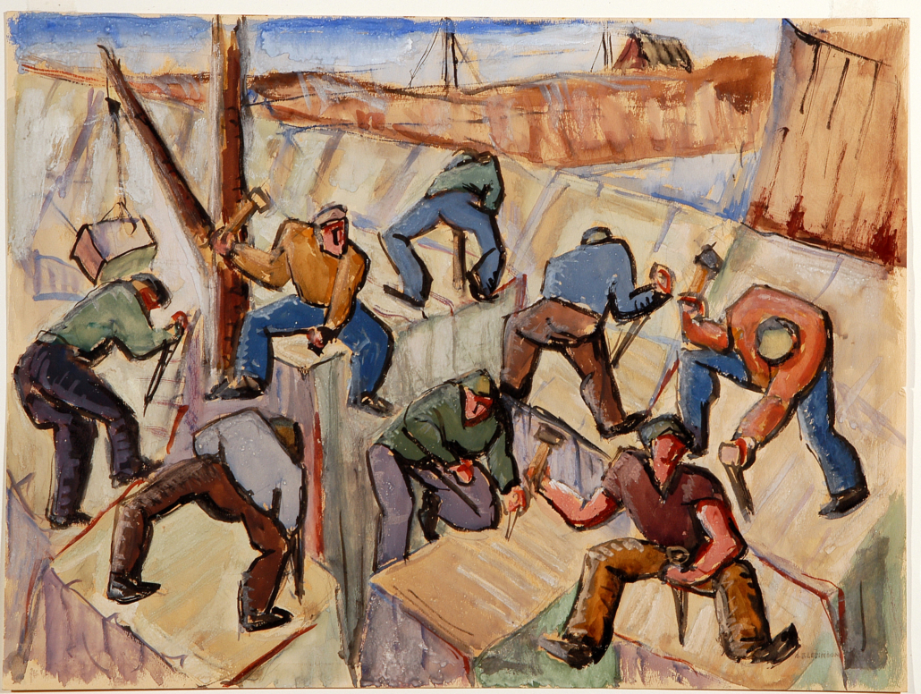 Abraham Frater Levinson, 'Men Working in Granite Quarry, Cape Ann,' circa 1935. Courtesy of the Chazen Museum of Art at the University of Wisconsin–Madison