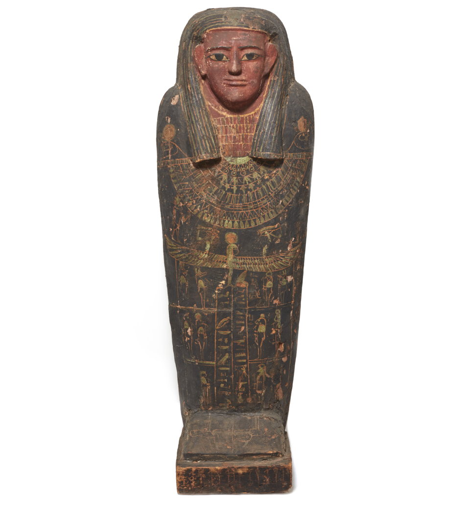 Egyptian painted wood coffin, est. €30,000-€50,000. Image courtesy of Bonhams