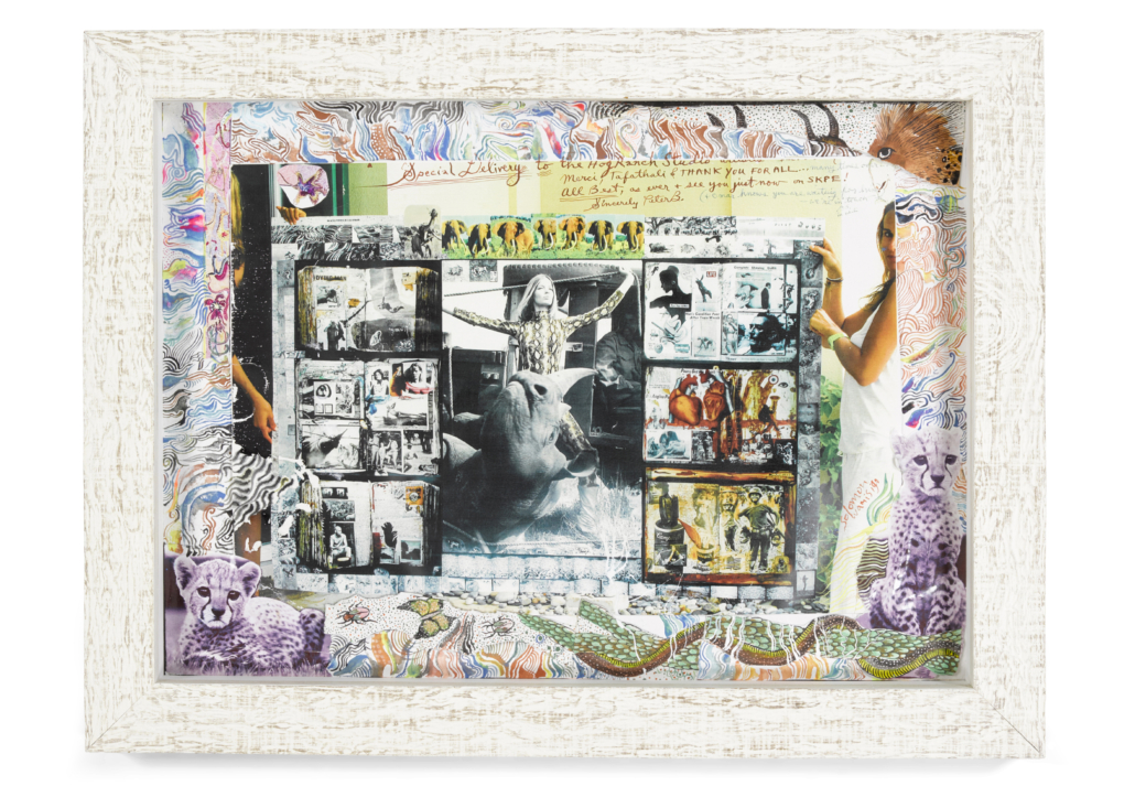 """Peter Beard, 'Special Delivery Diary Page, Verushka von Lehndorff for 'Vogue', Rhino Roping with 'Galo-Galo,"""" est. $30,000-$50,000. Image courtesy of Bonhams"""
