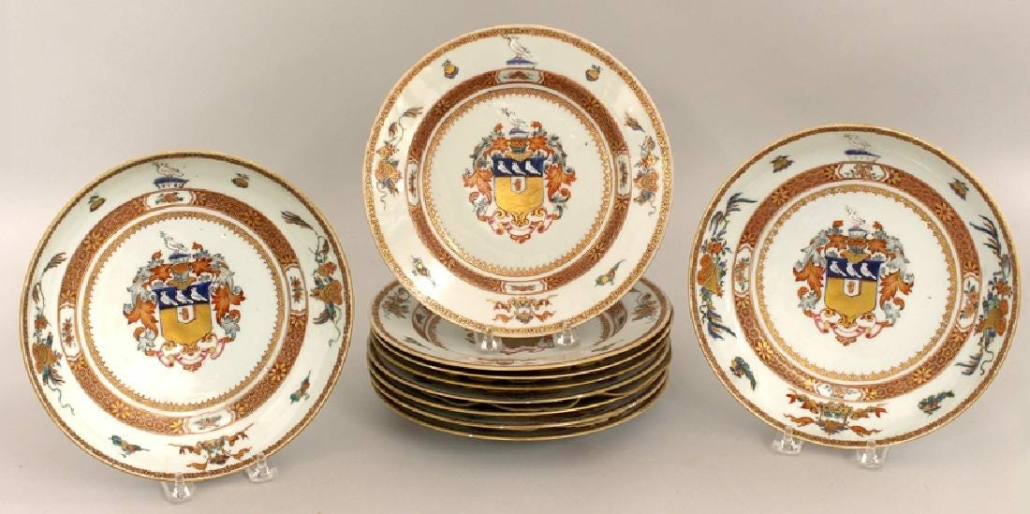 A set of eight 18th-century armorial plates plus two soup plates, made for Sir John Frederick, realized $5,500 plus the buyer's premium in May 2018 at CRN Auctions, Inc. Image courtesy of CRN Auctions, Inc. and LiveAuctioneers