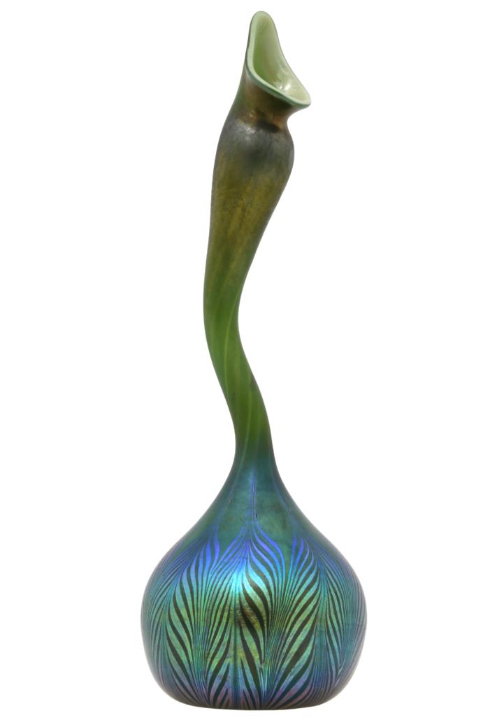 Tiffany Studios Peacock Gooseneck vase in Peacock favrile glass, est. $15,000-$25,000